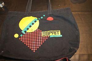 Vintage Esprit Black Canvas Tote Bag w geometric patterns circa 80's