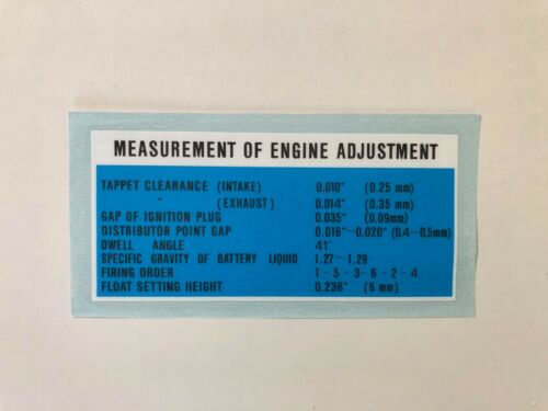 Engine Adjustment Decal for /'62 to /'64 Toyota Land Cruiser FJ40