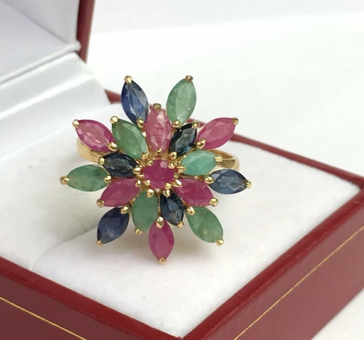 14k Solid gold Yellow gold Cluster Ring Mix Sapphire Emerald Ruby, Sz 8.25