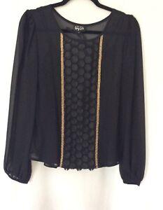 Per-Una-039-Speziale-039-Women-039-s-Black-amp-Gold-Long-Sleeve-Chiffon-Blouse-Top-Size-UK-8