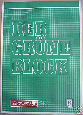 """karriert  50 Blatt 60g//m²  MwSt Brunnen Blöcke /""""Der grüne  Block/"""" A4 10 St"""