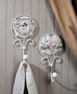Set Of 2 Vintage 19th Century Style Bathroom Bath Towel Hook Victorian Country