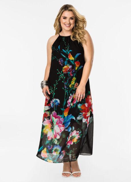 New Ashley Stewart Black Chiffon Watercolor Floral Halter Maxi Dress