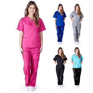 Women-039-s-Contrast-Scallop-Medical-Hospital-Nursing-Uniform-Scrubs-Set-Top-amp-Pants