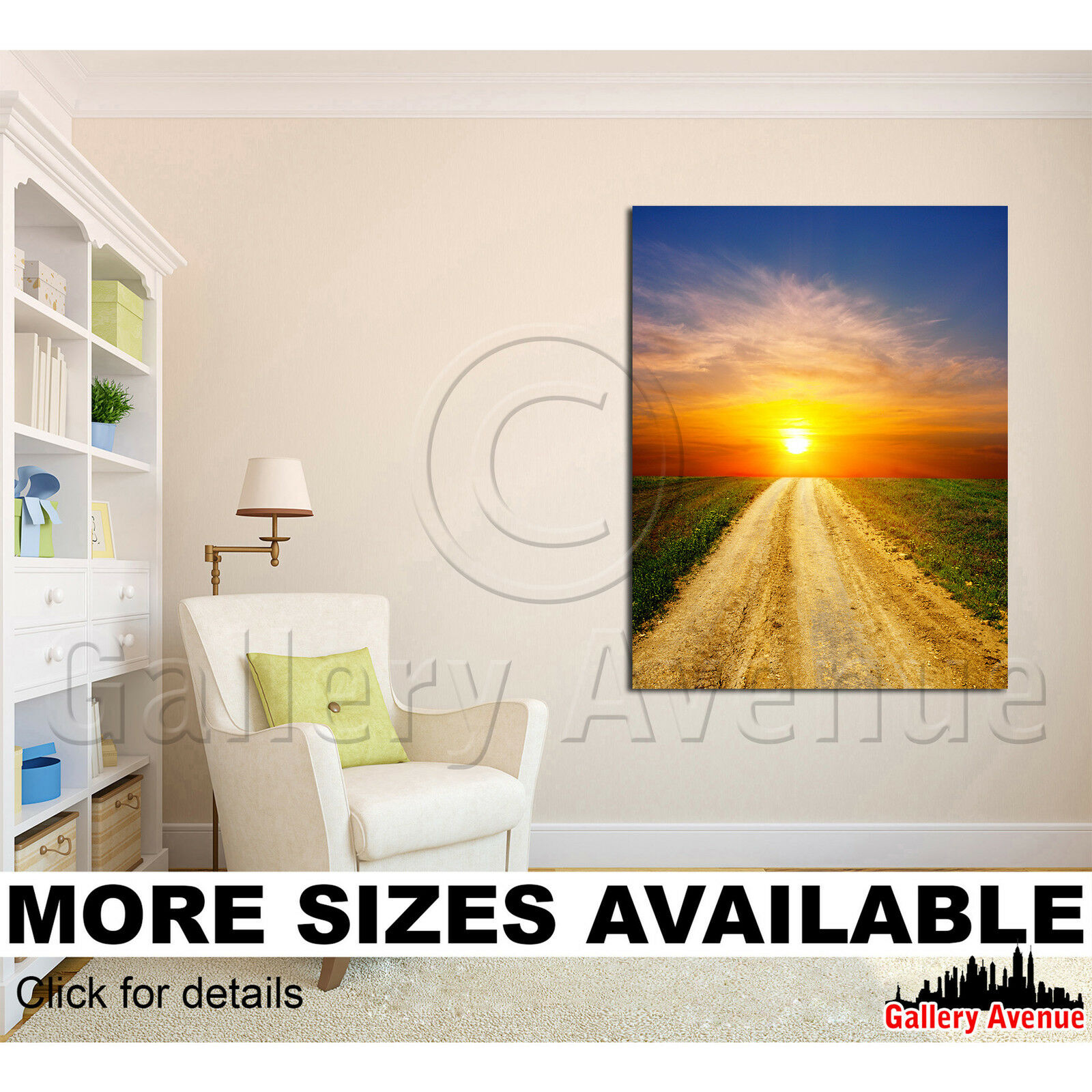 A Wall Art Canvas Picture Print - Sunset time over rural road 3.4