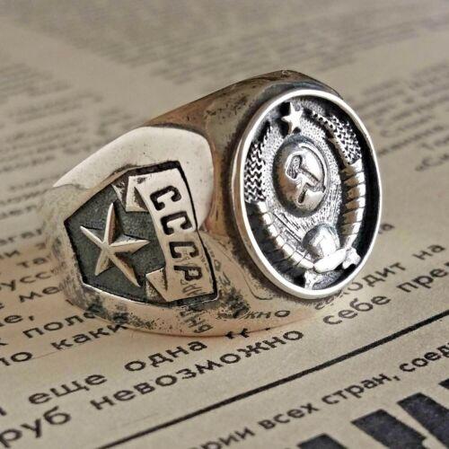 Communist Signet Ring Soviet Union Emblem STERLING SILVER USSR Vintage Jewelry