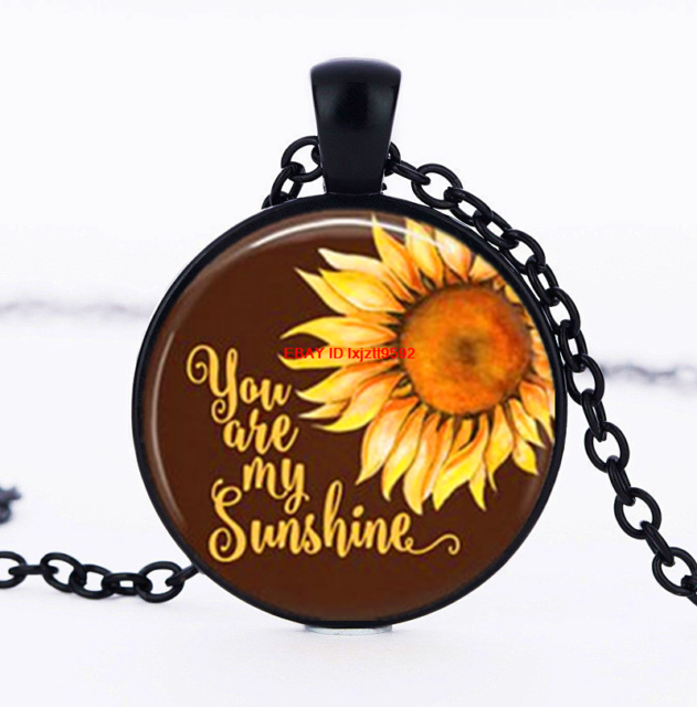 You Are My Sunshine Sunflower Cabochon Glass Silver Chain Pendant Necklace