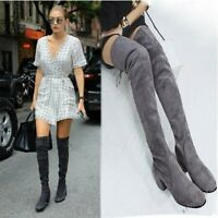 Fashion Women Suede Leather Over The Knee Boots Block High Heels Sexy Shoes Size