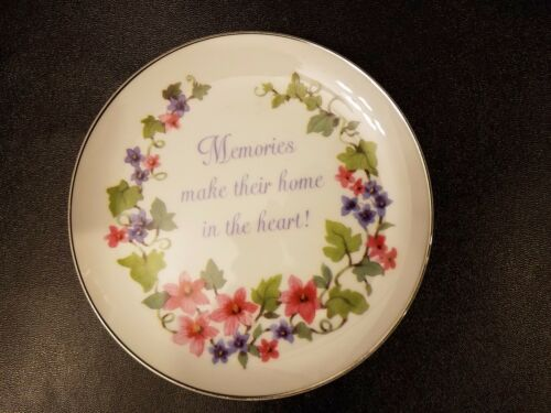 "Lasting Memories Porcelain Plate 6.25"" MEMORIES MAKE THEIR HOME IN THE HEART!"