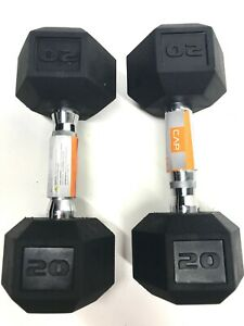 CAP Hex 20 Lb Dumbbell Rubber Set of 2  Weights **FAST FREE SHIPPING**