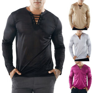 US-Men-Slim-Fit-V-Neck-Long-Sleeve-Muscle-Tee-T-shirt-Casual-Tops-Henley-Shirt