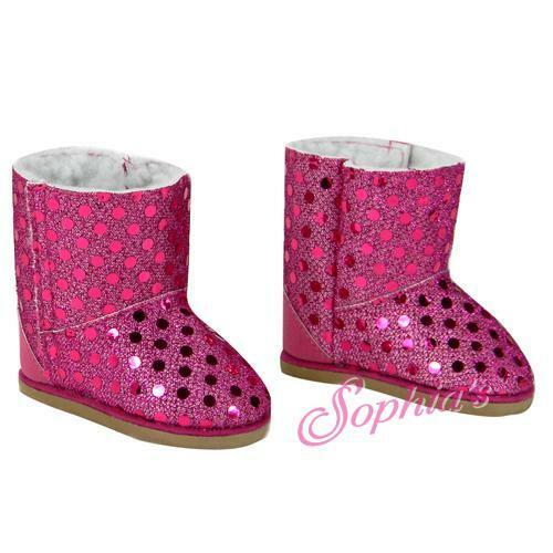 EWE BOOTS SHOES fits American Girl Dolls NEW HOT PINK sparkle sequin sequins