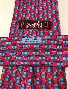 Hermes-Paris-Red-Locks-7415-HA-Silk-Luxury-Tie-59-034-150cm-3-75-034-9-5-France