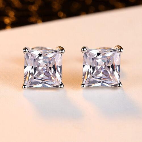 Fashion Princesse Blanc Saphir Square Stud Boucle d/'Oreille Haute Qualité Argent 925 Cadeau