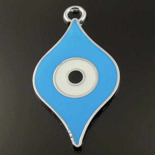 20pcs Rhodium Plaqué Bleu Charms yeux Émail Pendentif Findings