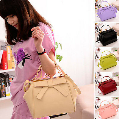 Women New Faux Leather Shoulder Bag Bowknot Satchel Cross Body Totes Handbag