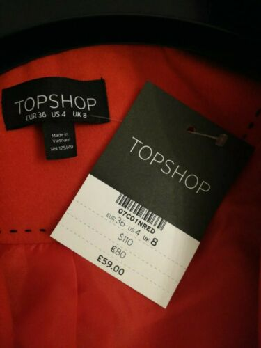 8 Fabric Textured £ Twist Seam Coat Luksuriøs Uk Topshop Rrp Red 59 Filt qUAZHzwnx4