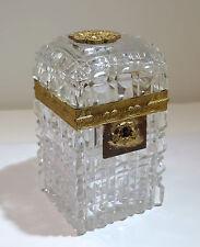 French Baccarat Cut Crystal Glass Ormolu Bronze Large Lock Box Late 19th Century