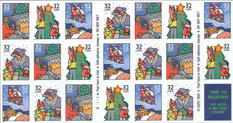 1996 32c Family Holiday Scenes, Booklet of 20 Scott 311
