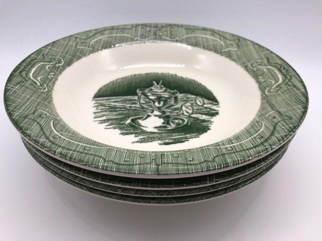 Old Curiosity Shop (Green) - Rim Soup Bowls Lot of 4 -Royal China