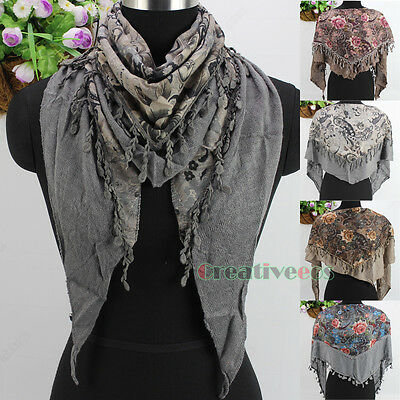 Fashion Lady Floral Paisley Knit Stitching With Tassel 2-Layer Triangle Scarf
