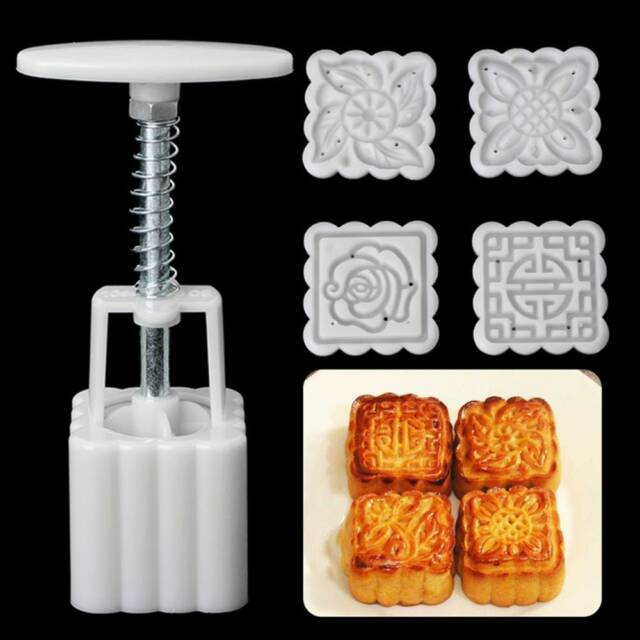 4Pcs Stamps Square Flowers Moon Cake Mold Pastry Mooncake Baking Decor Tools Hot