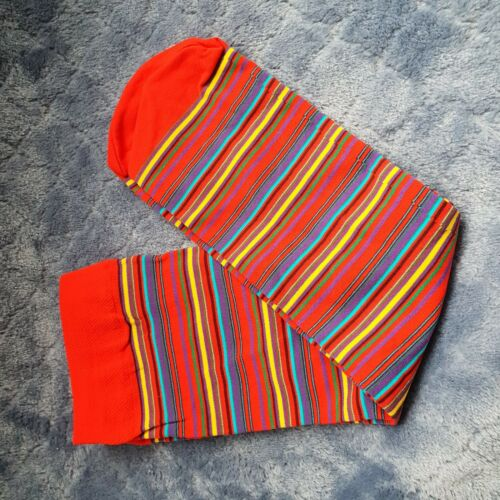 Flirt colourful long length Striped hooped nylon socks one size no heel