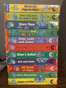 Lot-of-11-BLUES-CLUES-Nick-Jr-VHS-Discoveries-Story-Time-Safari-HTF-OOP-RARE