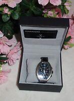 Montres De Luxe Mens Estremo Black Chronograph Tonneau Leather Watch NEW