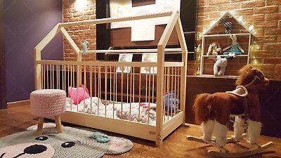 FARBE Hausbett Laufstall Kinderhaus mit Geländern Bett für Kinder 7 Tage