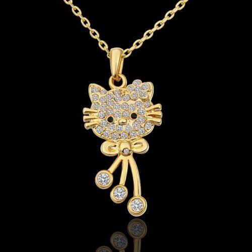 ASAMO Damen Halskette mit Katzen Anhänger und Zirkonia Steinen Katze HG1590