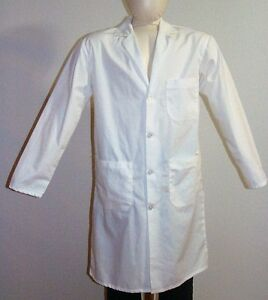 LAB COAT SIZE SMALL WHITE SILKY SOFT SCRUBS 65% POLYESTER ...