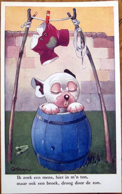 1930 Studdy/Artist-Signed Bonzo Postcard: Dog in a Barrel under Drying Pants