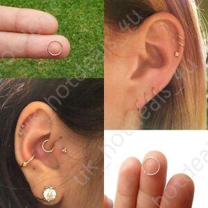 Silver Cartilage Earring Tragus Nose Ring Eyebrow Hoop Piercing