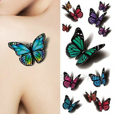 3D Butterfly Tattoo Decals Stickers Body Art Decal Flying Butterfly Waterproof