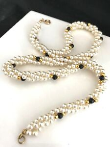 Necklace-Twisted-Faux-Pearl-Black-amp-Gold-Accents-Vintage-Estate-Jewelry-r3F