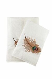 Peacock Feather Embroidered Bath And Hand Towel Turkish Cotton By Ebru