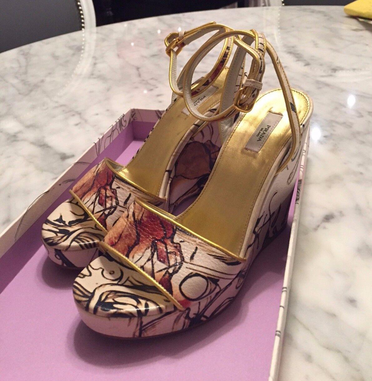 Prada Cervo Lux Print Wedge Sandals - Fairy Runway Collection