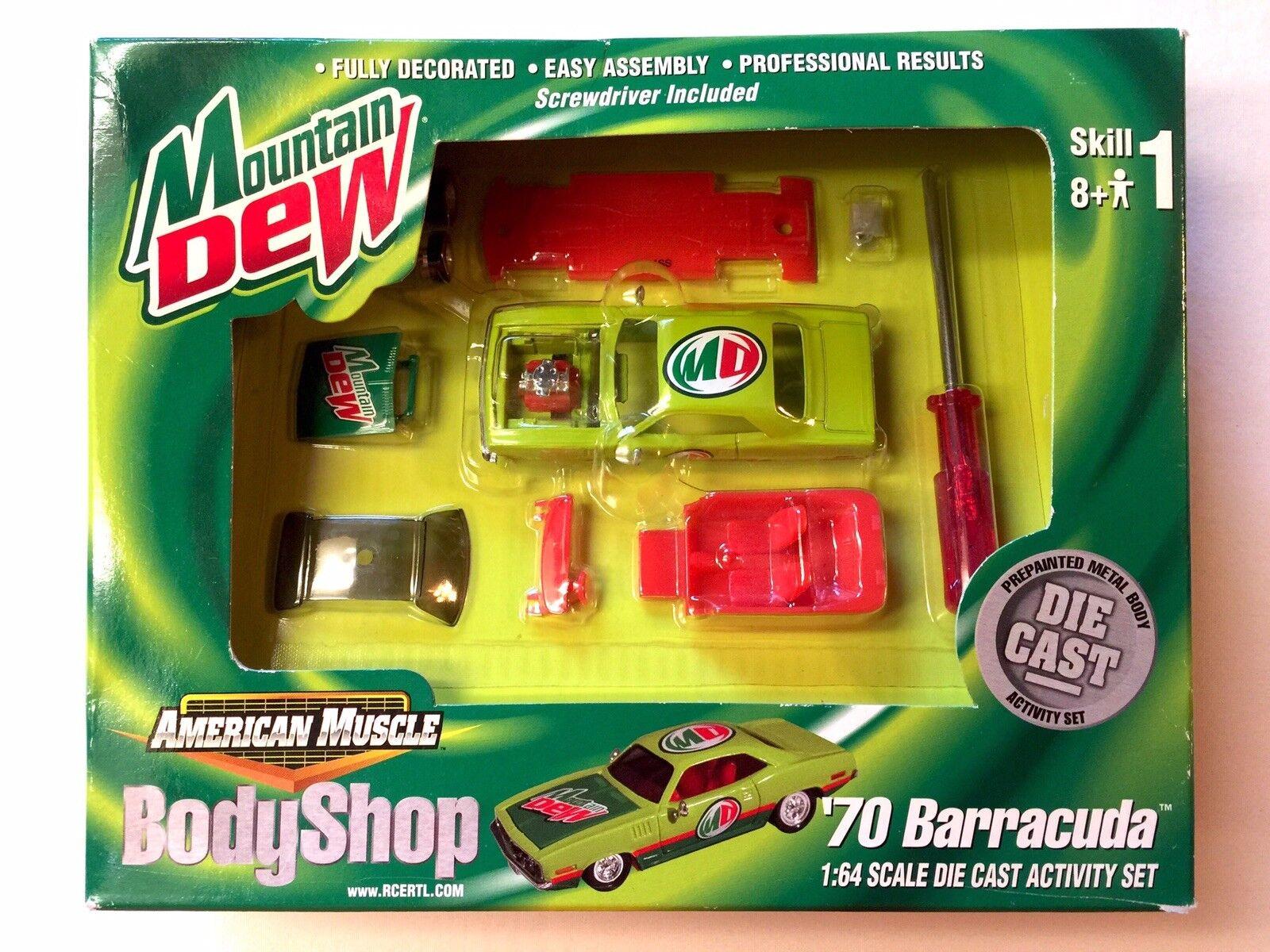 ERTL Body Shop Mountain Dew modellllerler Kit 70 Plymouth Barracuda Die Cast 1  64