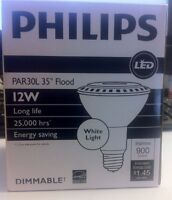 Qty-1 Philips 430165 12-watt 75watt Airflux Par30l Led 3000k Whiteflood Light