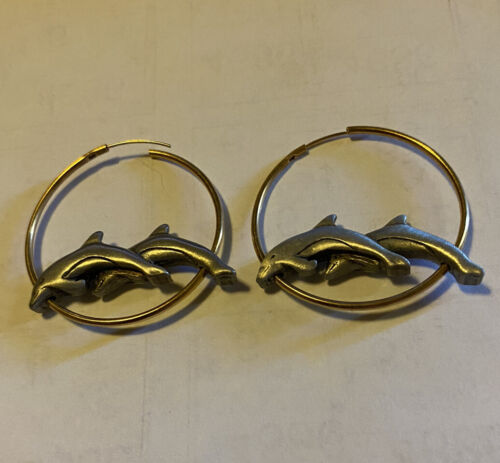 JJ VINTAGE DOLPHIN HOOP TWO TONED PEWTER GOLD TONE EARRINGS