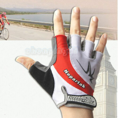 Red New Cycling Bike Bicycle Shockproof Wearable Sports Half Finger Glove