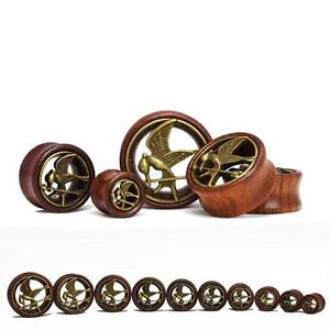 Details About Pair Of Rose Wood Ear Tunnel Plug With Flying Bird Vintage Brass Inlay 12mm 30mm