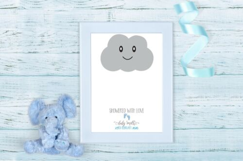 A4 A3 CLOUD FINGERPRINT PERSONALISED SHOWERED WITH LOVE BABY SHOWER PRINT