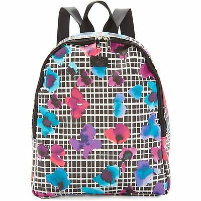iZAK Black White Checkered Floral Purple Blue Women's Backpack Book Bag Travel