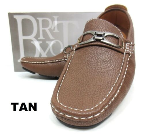 Men/'s BRIXTON brown black tan faux leather slip on shoes style DADER-02