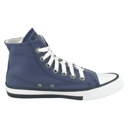 LADIES HARLEY DAVIDSON FLORA HI TOP CANVAS LACE BASEBALL BOOTS  CASUAL TRAINERS