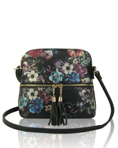 New Women/'s Girls Small Floral Pattern Tassel Zip Shoulder Cross-body Bag