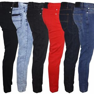 Relco-Skinny-Stretch-Jeans-Indie-Retro-Vintage-Black-Red-Indigo-Blue-28-40