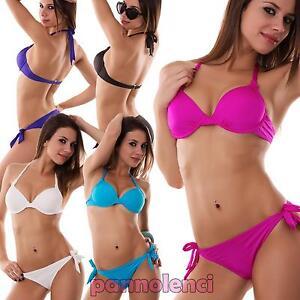 Caricamento dell immagine in corso Bikini-donna-costume-da-bagno-mare -liscio-push- a010e5236cd